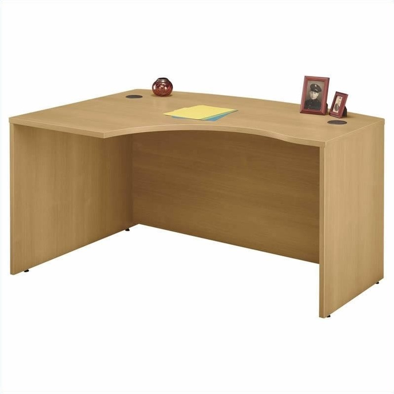 Bush BBF Series C 4-Piece U-Shape Left-Hand Bow-Front Desk in Light Oak