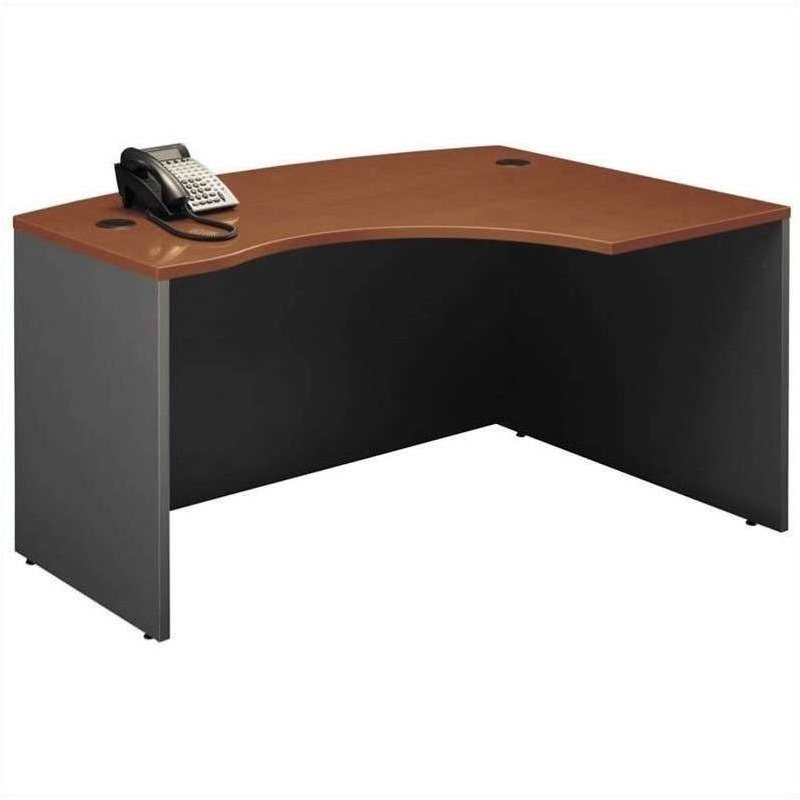 Bush BBF Series C 3-Piece Right Bow-Front L-Shaped Desk in Auburn Maple