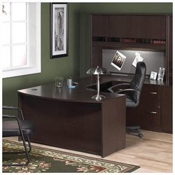 Bush BBF Series C 4-Piece U-Shape Right Bow-Front Desk Set in Mocha Cherry