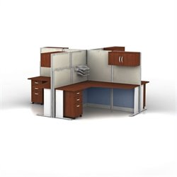 Bush Business Furniture Office-in-an-Hour Hansen Cherry Cubicles for 4