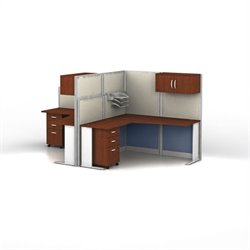 Bush Business Furniture Office-in-an-Hour Hansen Cherry Cubicles for 2