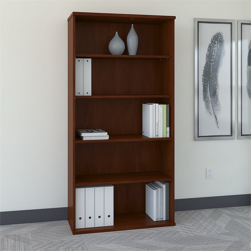 Bush Business Furniture Series C 36W 5-Shelf Bookcase in Hansen Cherry