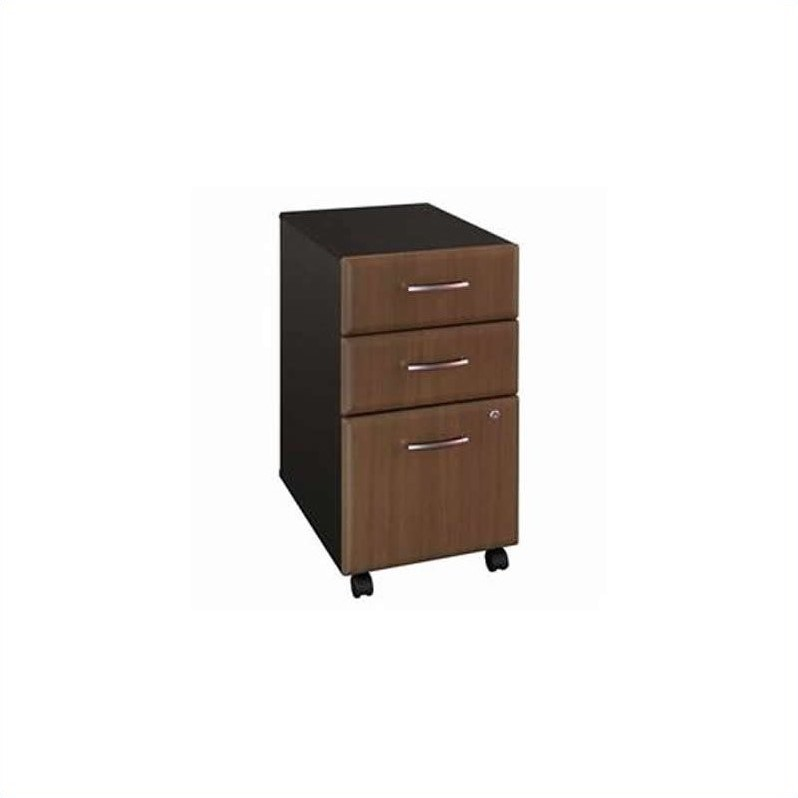 Bush Business Furniture Series A 3Dwr Mobile Pedestal in Sienna Walnut
