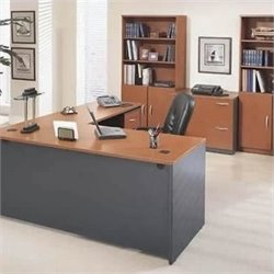 Bush BBF Series C 8-Piece L-Shape Desk Set with Storage in Auburn Maple