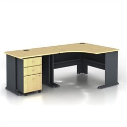 Bush BBF Series A 3-Piece Corner Computer Desk in Beech