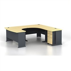Bush BBF Series A 4-Piece U-Shape Right-Hand Computer Desk in Beech