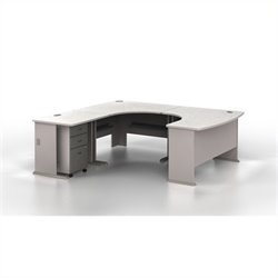 Bush BBF Series A 4-Piece U-Shape Left-Hand Corner Computer Desk in Pewter