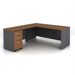 Bush BBF Series C 3-Piece L-Shape Computer Desk in Auburn Maple