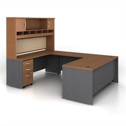 Bush BBF Series C 5-Piece U-Shape Computer Desk in Auburn Maple