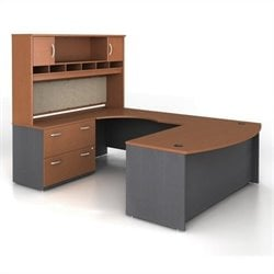 Bush BBF Series C 4-Piece U-Shape Left-Hand Computer Desk in Auburn Maple