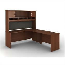 Bush BBF Series C 3-Piece Right-Hand L-Shaped Computer Desk in Mahogany