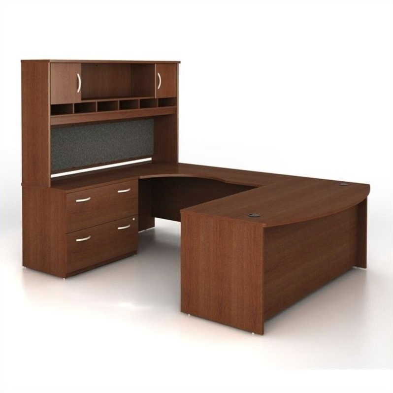 Bush BBF Series C 4-Piece U-Shape Left-Hand Computer Desk in Mahogany