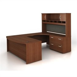 Bush BBF Series C 4-Piece U-Shape Right-Hand Computer Desk in Mahogany