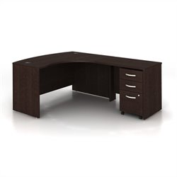 Bush BBF Series C 3-Piece Right-Hand Computer Bow Desk in Mocha Cherry