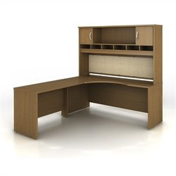 Bush BBF Series C 3-Piece Left-Hand L-Shaped Computer Desk in Warm Oak
