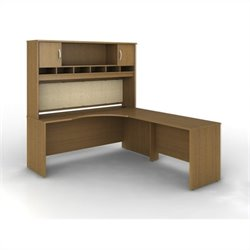 Bush BBF Series C 3-Piece Right-Hand L-Shaped Computer Desk in Warm Oak