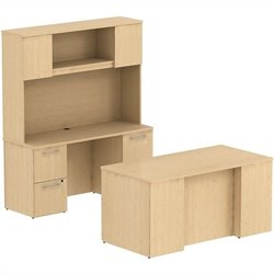Bush Business Furniture 300 Series 3 Piece Office Set in Natural Maple