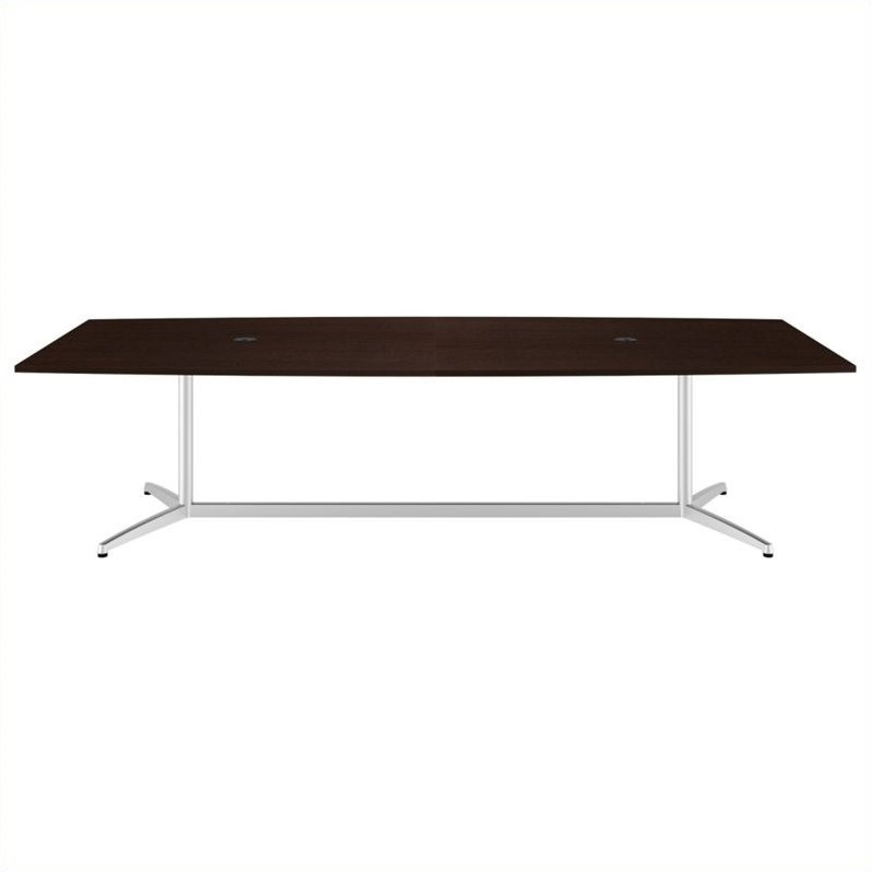 Bush BBF 120L x 48W Conference Table Kit - Metal Base in Mocha Cherry