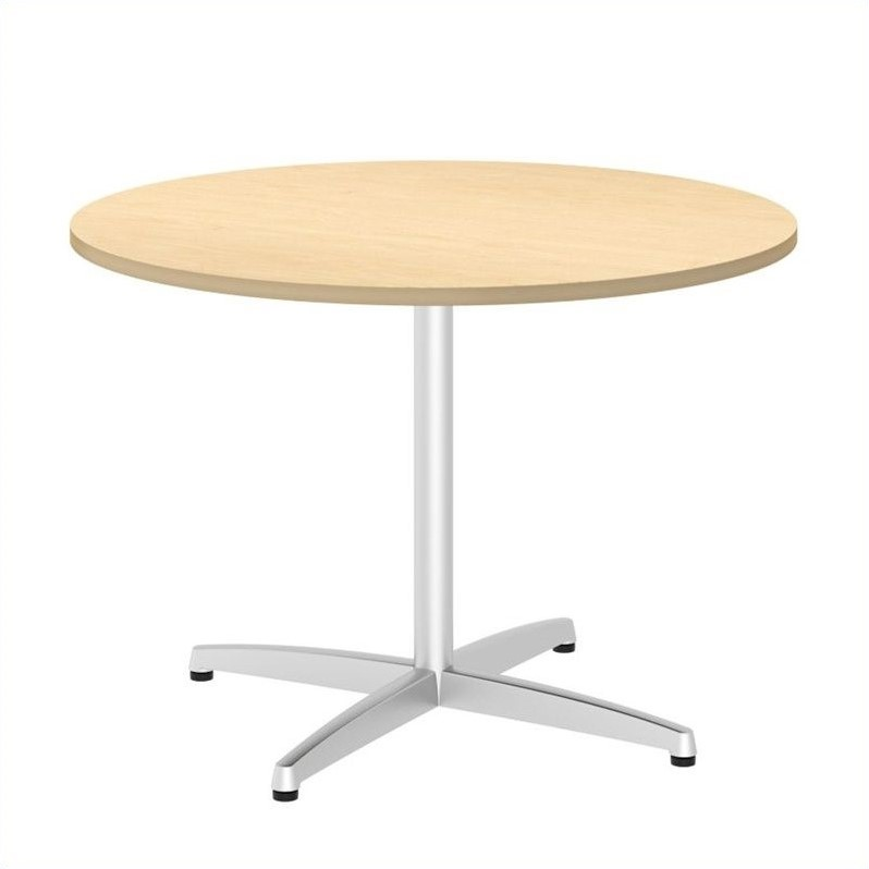 Bush BBF 42W Round Conference Table Kit - Metal X Base in Natural Maple