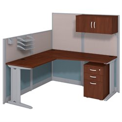 Bush BBF Office-in-an-Hour L-Workstation with Storage in Hansen Cherry