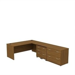 Bush BBF Series C 72Wx30D L Desk with 3Dwr Mobile Pedestal in Warm Oak