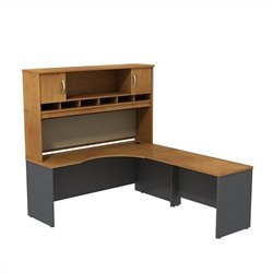Bush Business Furniture Series C RH Corner Desk Natural Cherry