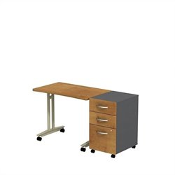 Bush BBF Series C Adjustable Table with Pedestal in Natural Cherry