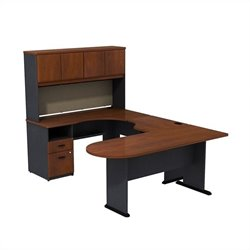 Bush BBF Series A U-Workstation with Hutch in Hansen Cherry