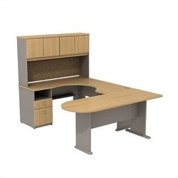 Bush BBF Series A U-Workstation with Hutch in Light Oak