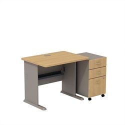 Bush BBF Series A 36W X 27D Desk with 3Dwr Mobile Pedestal in Light Oak
