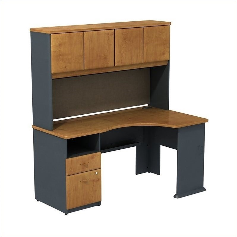 Bush bbf series a expandable desk with hutch storage in natural cherry sra007nc - Staples corner storage ...