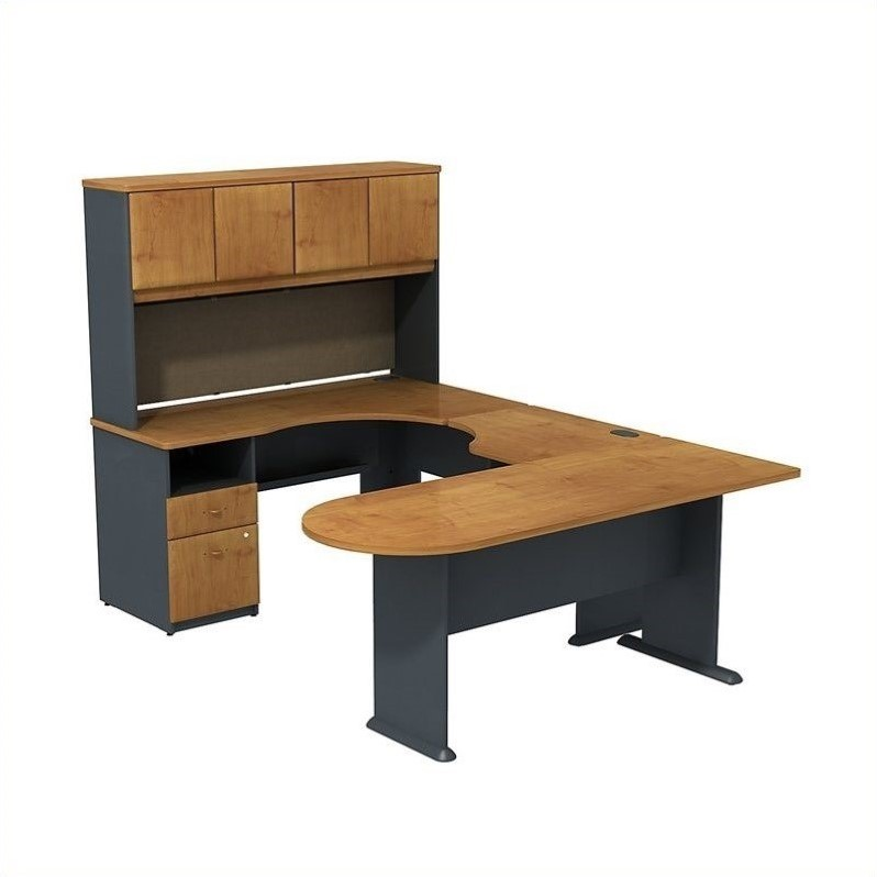 Bush BBF Series A U-Workstation with Hutch in Natural Cherry