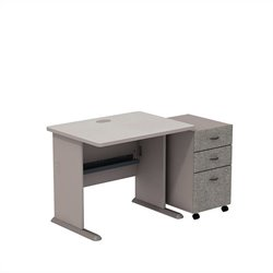 Bush BBF Series A 36W X 27D Desk with 3Dwr Mobile Pedestal in Pewter