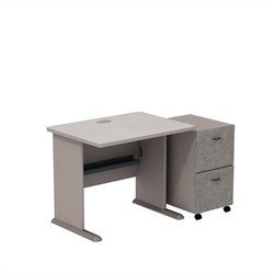 Bush BBF Series A 36W Desk with 2Dwr Mobile Pedestal (Assembled) in Pewter