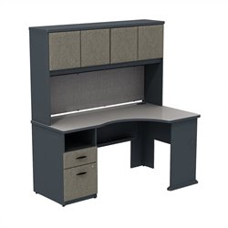 Bush BBF Series A Expandable Corner Desk with 60W Hutch Storage in Slate