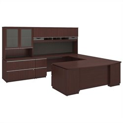 Milano2 72W x 36D Right-Handed 2Dwr Pedestal U Station Hutch 2Dwr File and Hutch