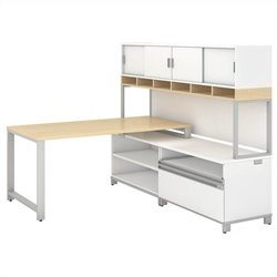 Momentum 60W X 30D Desk with 24H Open Storage 24H Piler Filer and 72W Hutch with Doors