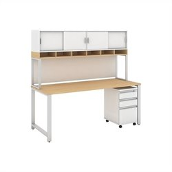 Momentum 72W X 30D Desk with 3Dwr Mobile Pedestal and 72W Hutch with Doors