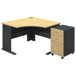 Series A Collection Corner Desk with 3Dwr Mobile Pedestal