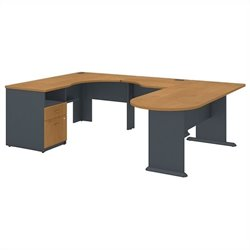 Bush BBF Series A Single Pedestal U-Shaped Desk in Natural Cherry