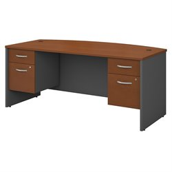 Series C Collection 72W X 36D Bow Front Desk with 2 Pedestals