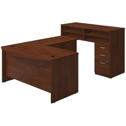60W x 36D Bow Front U Station with Standing Height Desk and Storage