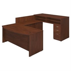 Series C Elite 72W x 36D Bow Front U Station with Standing Height Desk and Storage