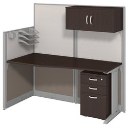 Bush BBF Office-in-an-Hour Straight Workstation in Mocha Cherry