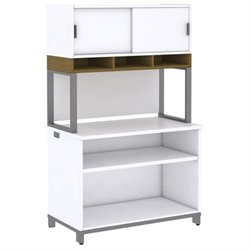 Momentum 2 Shelf Bookcase with Hutch on Riser II