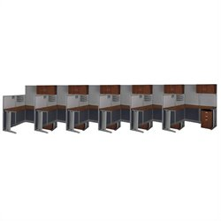 Bush Business Furniture Office-in-an-Hour Hansen Cherry Cubicles for 6