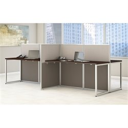 Bush BBF Easy Office Wood Computer Desk for Four in Mocha Cherry