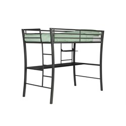 DHP Metropolis Twin Loft Bed with Desk in Gun Metal Gray