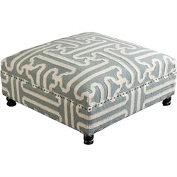 Surya Wool Square Nailhead Coffee Table Ottoman in Slate