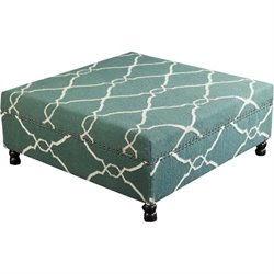 Surya Wool Square Nailhead Coffee Table Ottoman in Forest